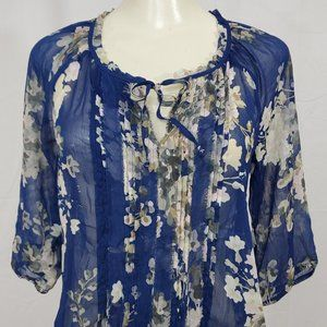 Express Top size Small Sheer Blue Floral